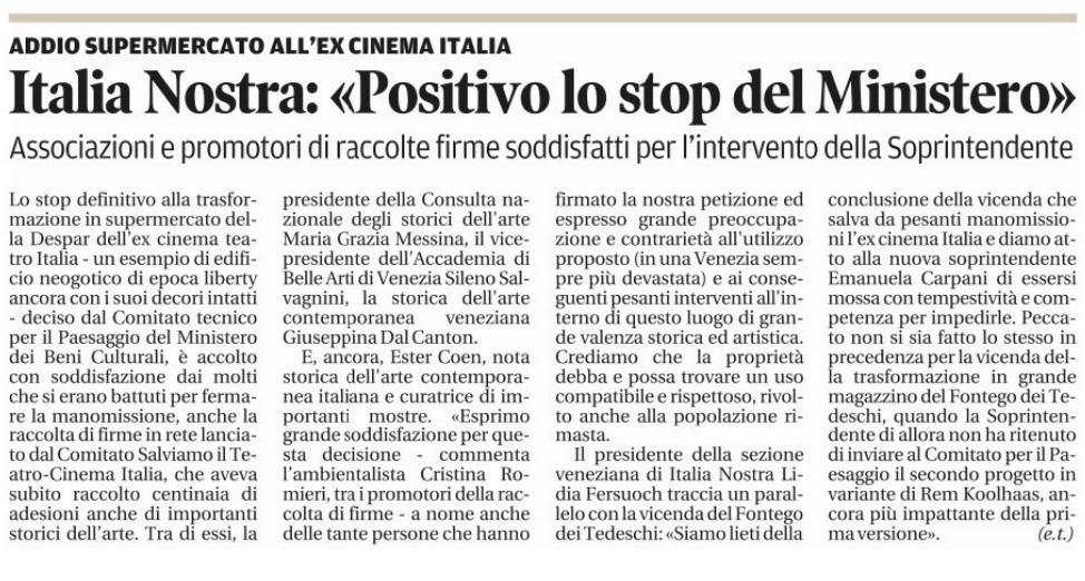 Cinema Italia reazioni premature