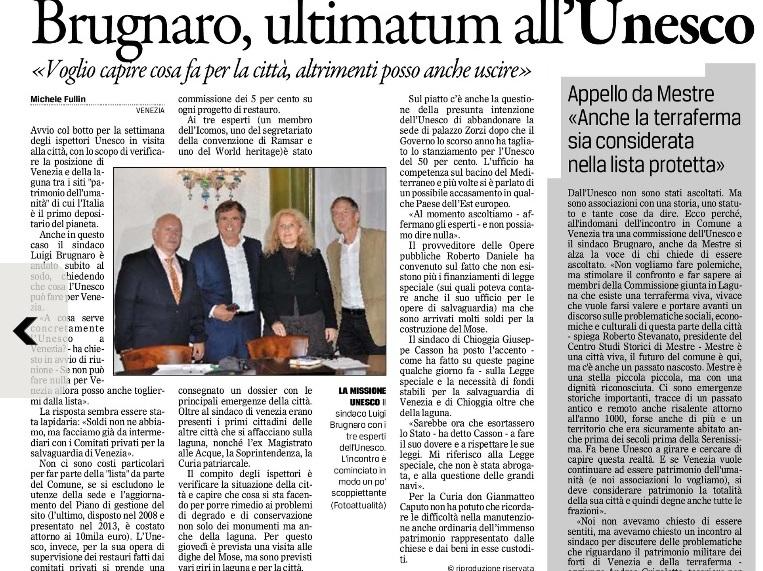 Ispettori UNESCO Gazzettino