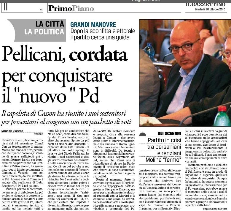 Pd veneziano in forte crisi