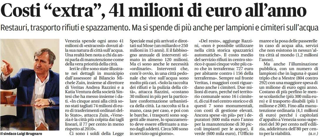 Costi extra per Venezia