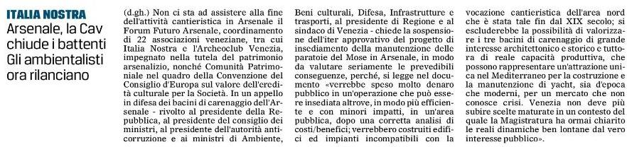 Gazzettino su Arsenale