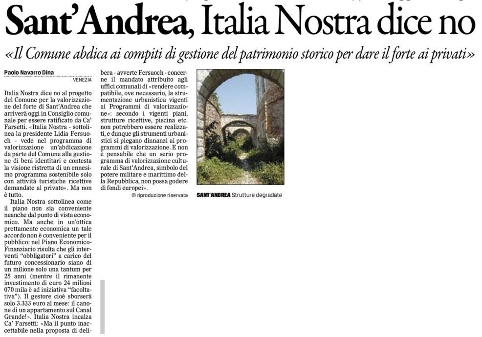Sant'Andrea comunicato Gazzettino
