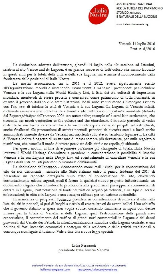 Comunicato su risoluzione Unesco