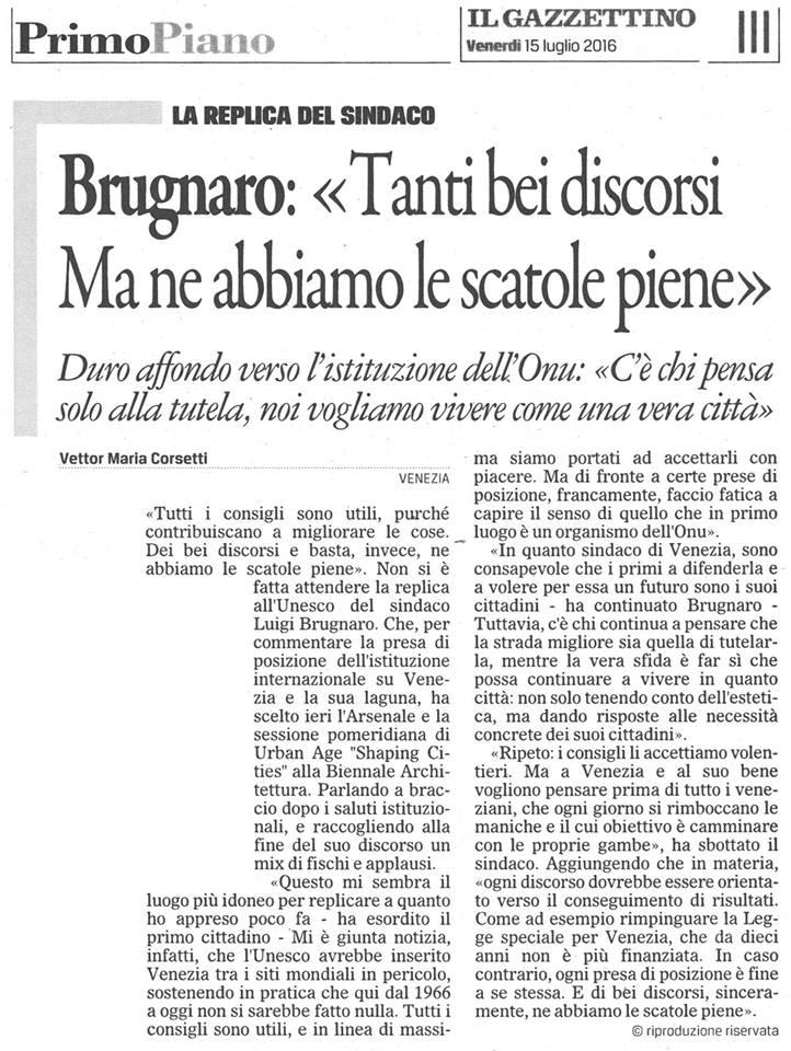 Unesco reazione Brugnaro Gazzettino