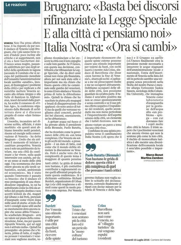 Unesco reazioni Brugnaro Corriere